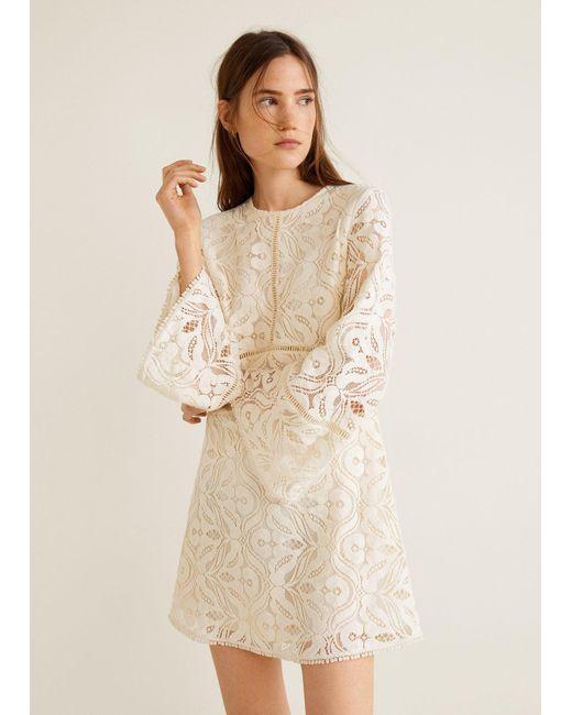 Mango - White Lace Panel Dress - Lyst