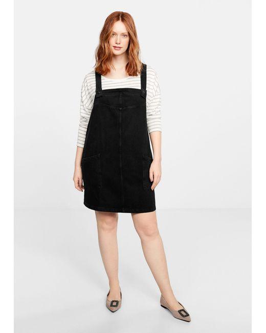 Lyst Violeta By Mango Pocket Denim Pinafore Dress In Black