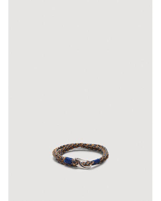 Mango - Blue Braided Leather Bracelet - Lyst