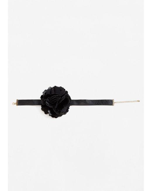 Mango | Black Flower Appliqué Necklace | Lyst