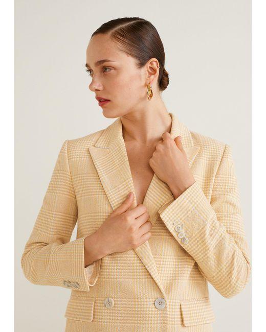 Mango - Yellow Check Structured Blazer - Lyst