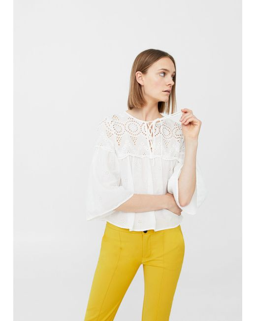 Mango   White Openwork Cotton Blouse   Lyst
