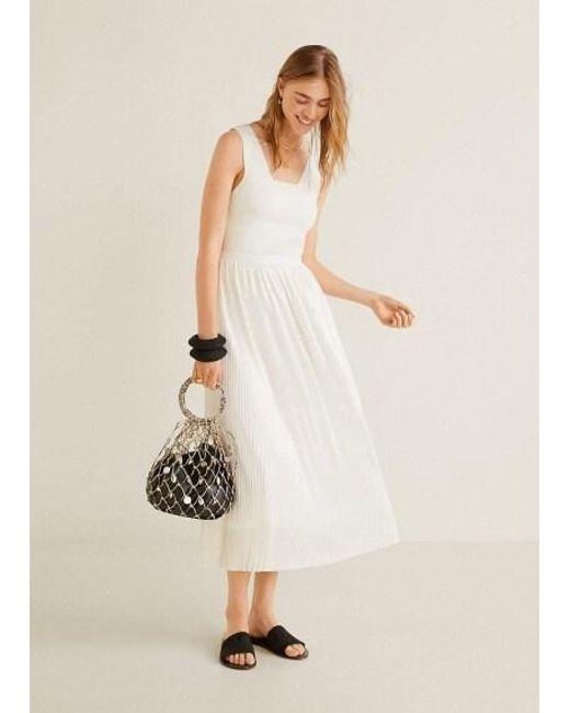 892343b30 ... Mango - Pleated Midi Skirt White - Lyst ...