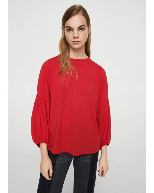 Mango | Red Ruched Detail T-shirt | Lyst