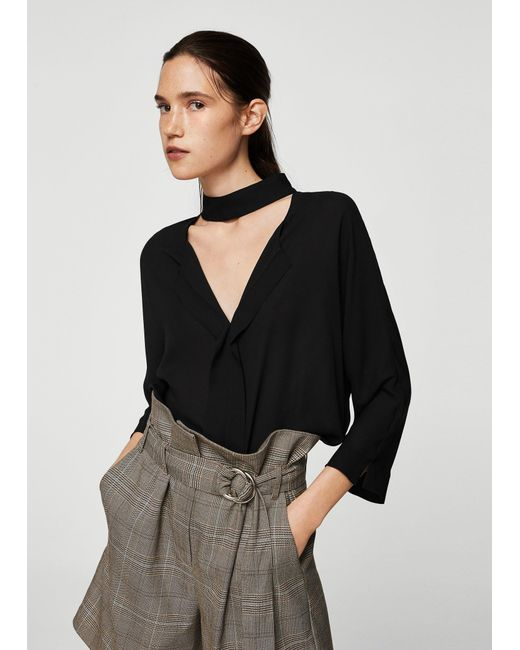 Mango - Black Blouse - Lyst