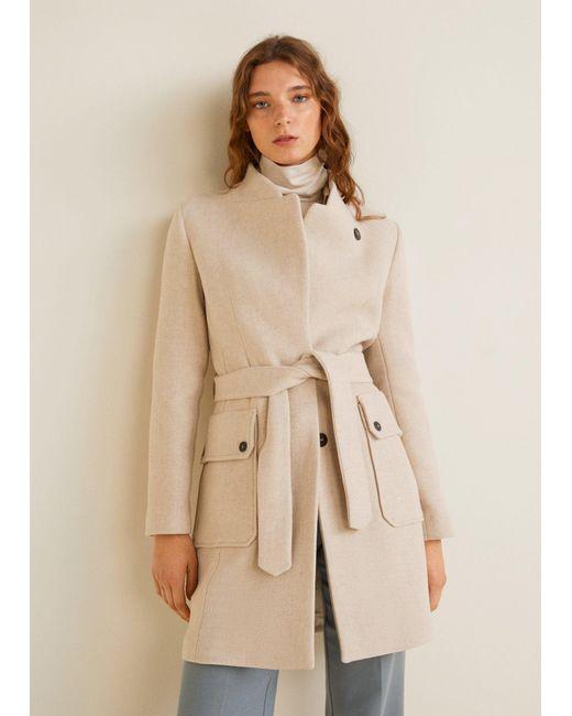 Mango - Brown Belted Wool Coat - Lyst ... 301cf94d4