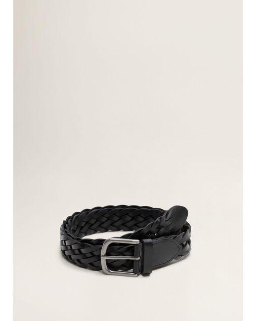 Mango - Black Braided Leather Belt for Men - Lyst