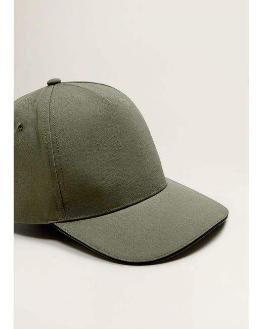 Mango - Green Cotton Baseball Cap Khaki for Men - Lyst