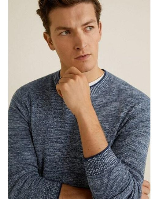1bf4cb6bf ... Mango - Blue Flecked Cotton-blend Sweater Navy for Men - Lyst