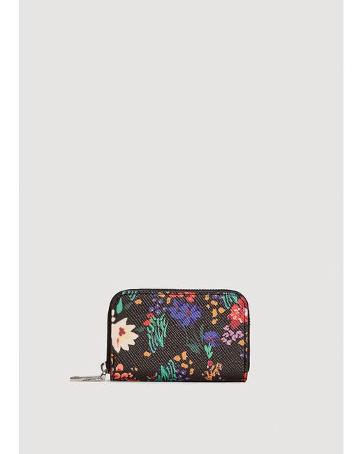 Mango - Black Floral Saffiano-effect Purse - Lyst