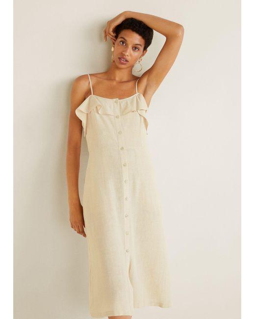 97c1697325 Mango - Natural Ruffled Linen Dress - Lyst ...