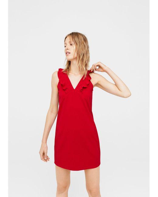 Mango | Red Ruffled Dress | Lyst