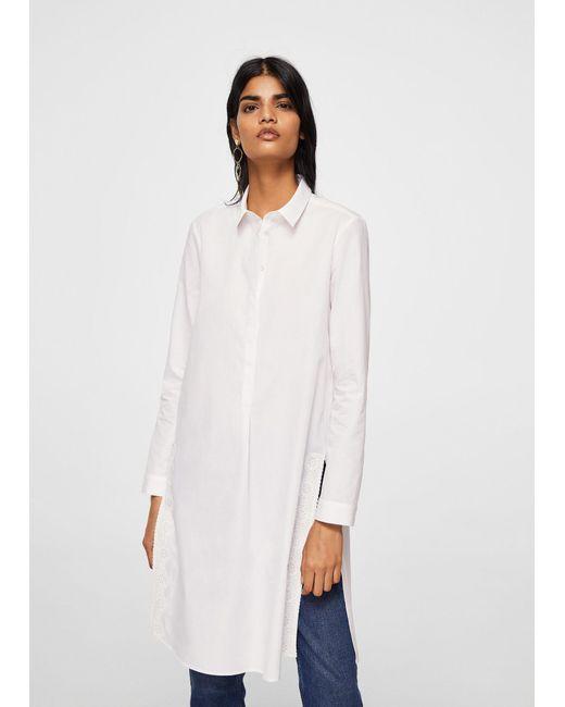 Mango - White Guipure Panel Shirt - Lyst