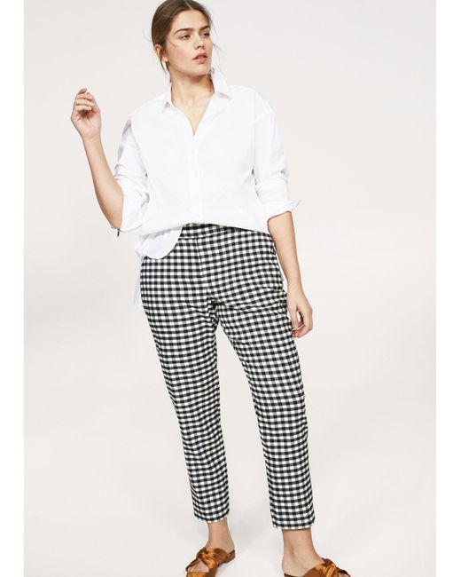 Violeta by Mango | Blue Gingham Check Pattern Trousers | Lyst