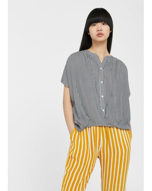 Mango | Blue Flowy Striped Blouse | Lyst