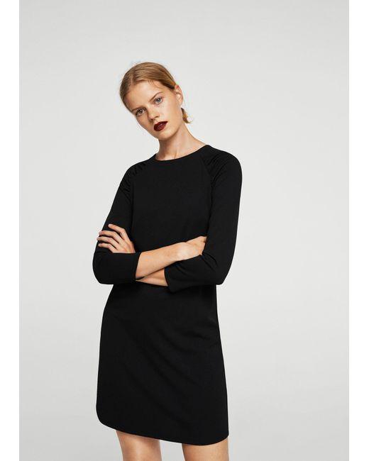 Mango | Black Ruched Detail Dress | Lyst