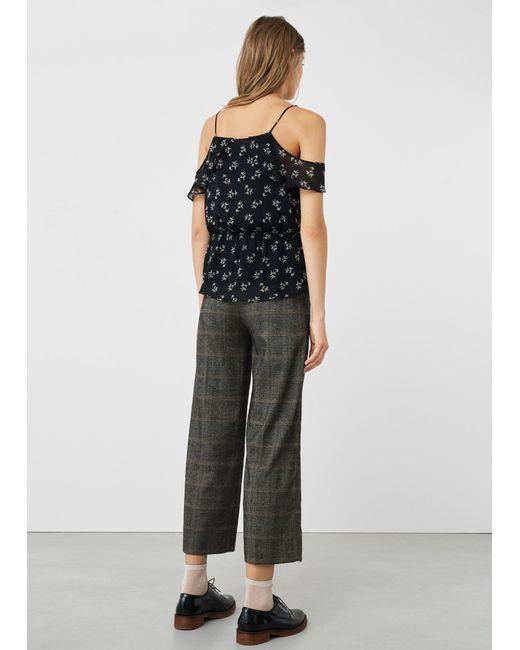 Mango | Black Floral Cross-body Top | Lyst