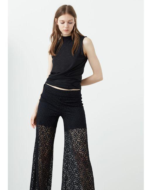 Mango   Black Printed Baggy Trousers   Lyst