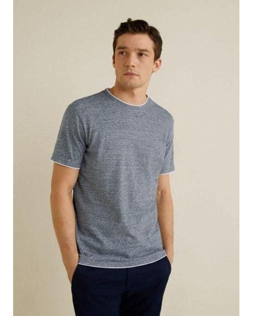 161d7c274bde Mango Striped Cotton Linen-blend T-shirt Sky Blue in Blue for Men - Lyst