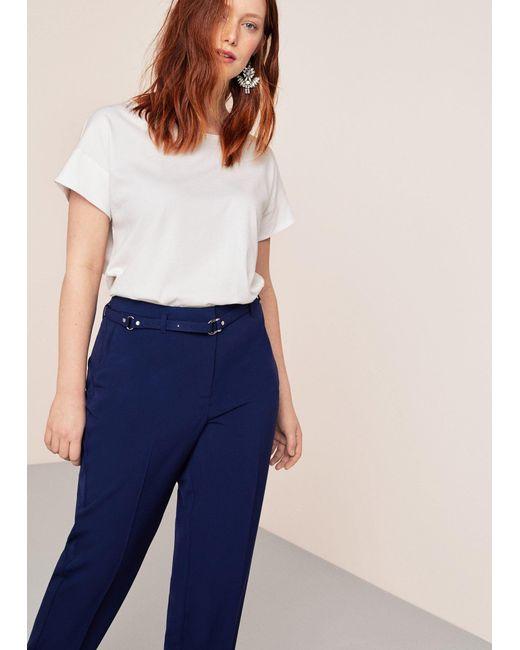 Violeta by Mango - Blue Belt Straight-fit Trousers - Lyst
