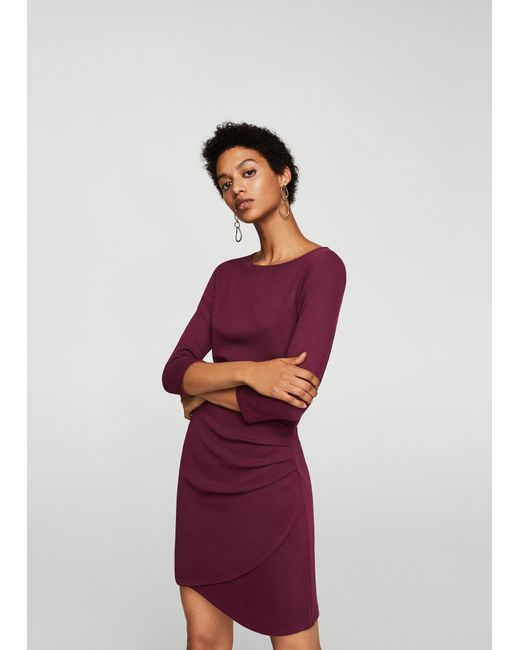 Mango - Red Ruched Detail Dress - Lyst