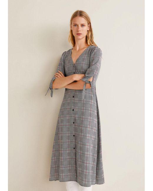 Mango - Gray Flowy Dress - Lyst