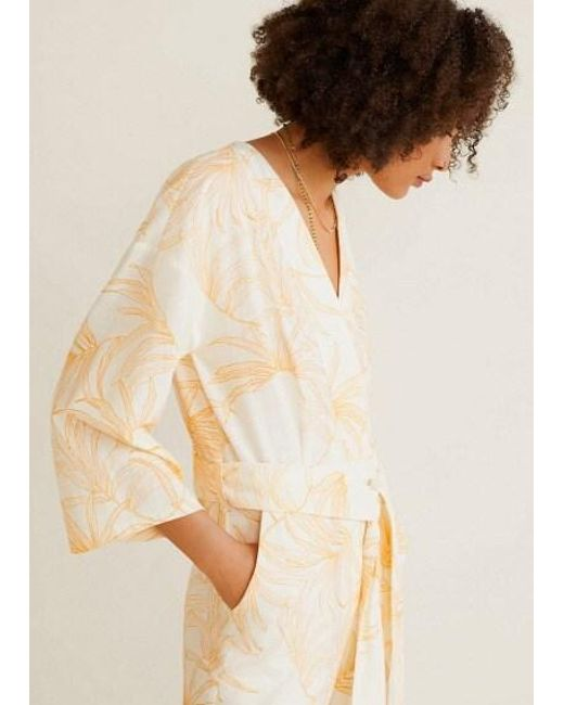 clair et distinctif plus récent éclatant Mango Long Printed Jumpsuit Off White in White - Lyst