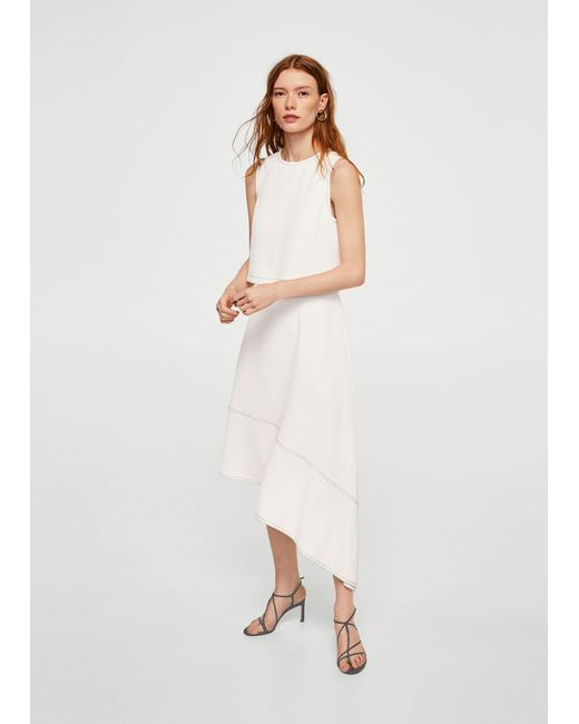 Mango - White Contrast Seam Dress - Lyst