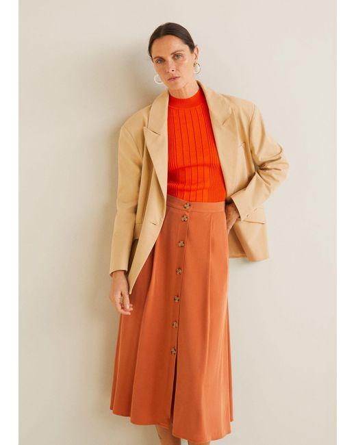 545372c001 Mango - Orange Buttoned Midi Skirt - Lyst ...