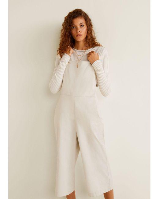 928121870827 Mango - Natural Cotton Long Jumpsuit - Lyst ...
