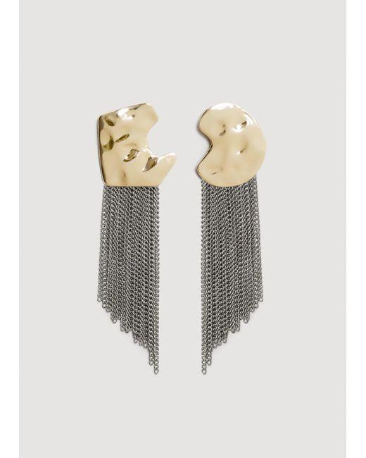 Mango - Metallic Asymmetric Chain Earrings - Lyst