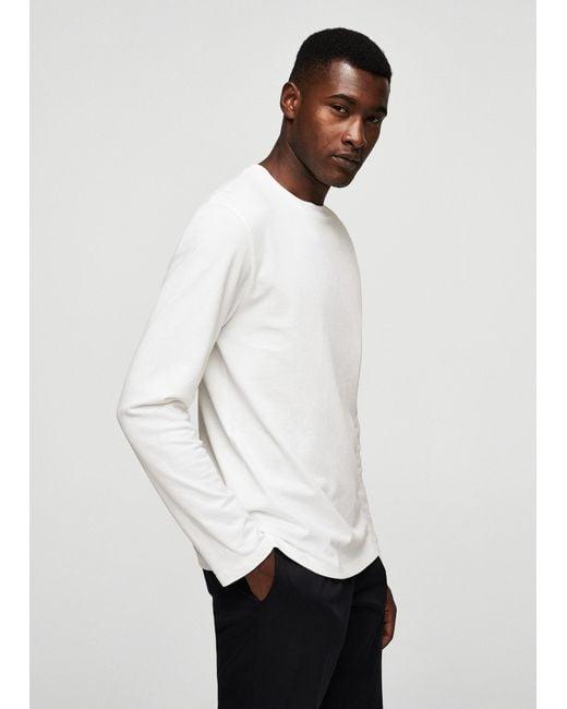 Mango | White Textured Cotton Sweater for Men | Lyst
