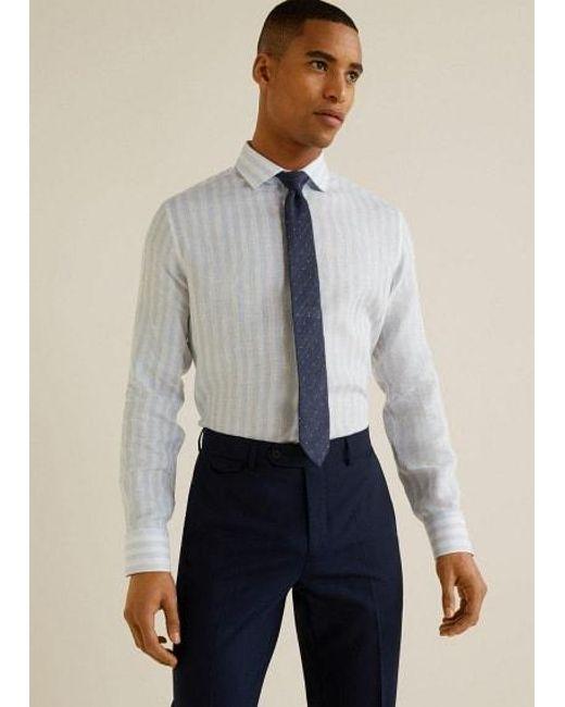 70bad788fccd Mango Slim-fit Tailored Linen Shirt Sky Blue in Blue for Men - Lyst