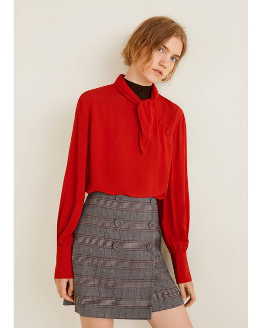 Mango - Gray Buttoned Checked Skirt - Lyst