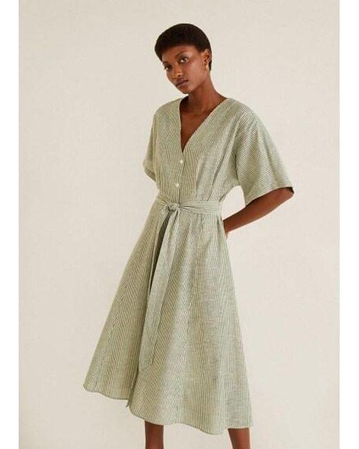 0fc427e7c5 Mango - Natural Bow Linen-blend Dress Khaki - Lyst ...