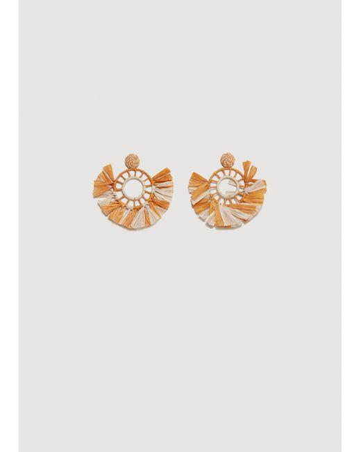 Mango - Orange Embossed Hoop Earring - Lyst