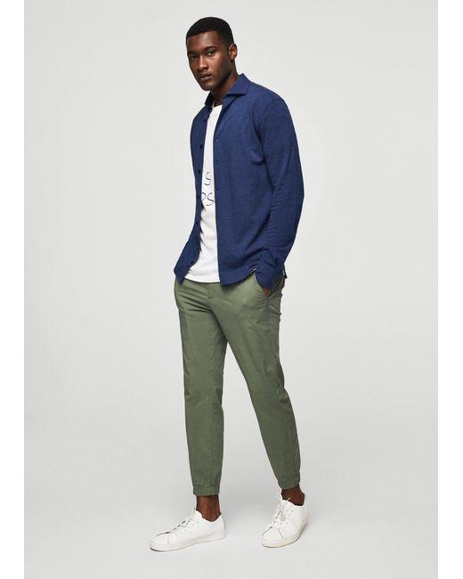 Mango   Blue Flecked Cotton Shirt for Men   Lyst