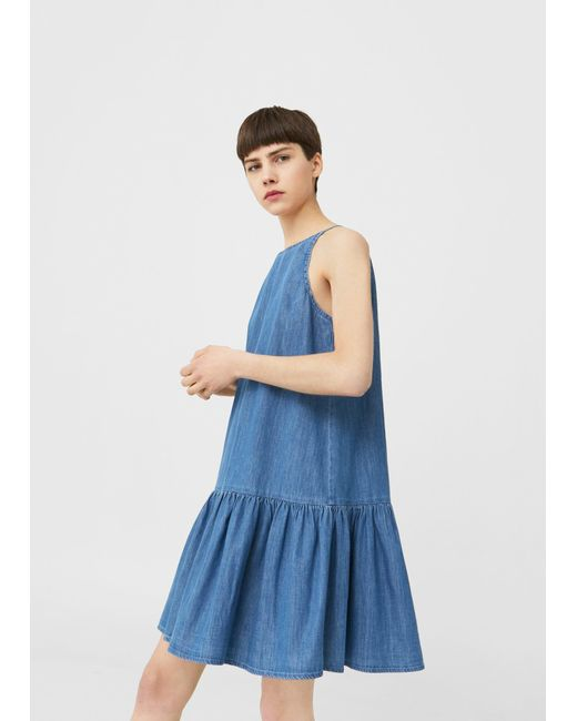 Lyst mango frilled denim dress in blue for Robe jean mango