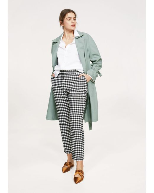 Violeta by Mango - Blue Gingham Check Pattern Trousers - Lyst