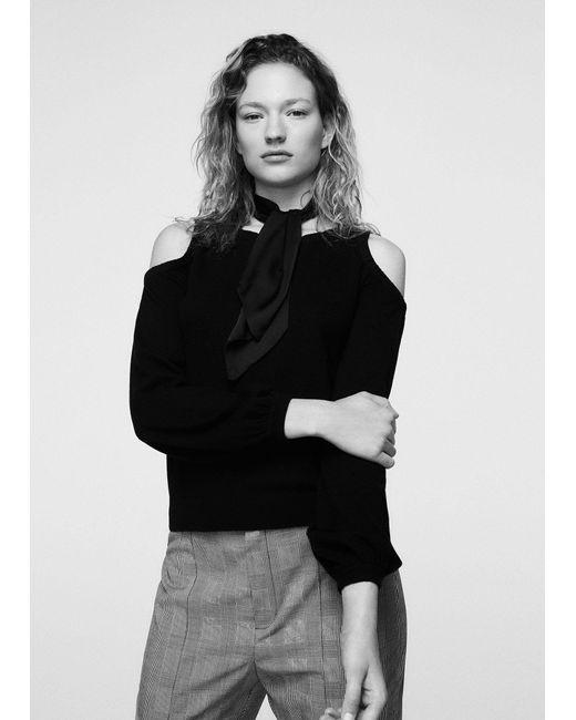 Mango | Black Cold-shoulder Sweater | Lyst