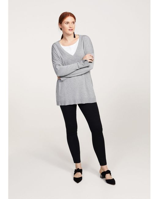 Violeta by Mango | Gray V-neck Sweater | Lyst