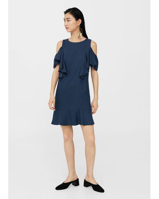 Mango - Blue Ruffles Slit Dress - Lyst