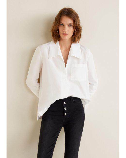 Mango - White Oversize Organic Cotton Shirt - Lyst