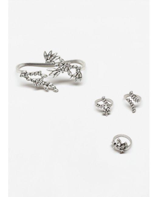 Mango | Metallic Bracelet Ring Set | Lyst