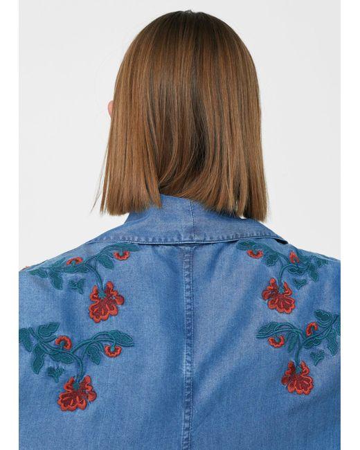 Mango | Blue Embroidered Denim Trench | Lyst