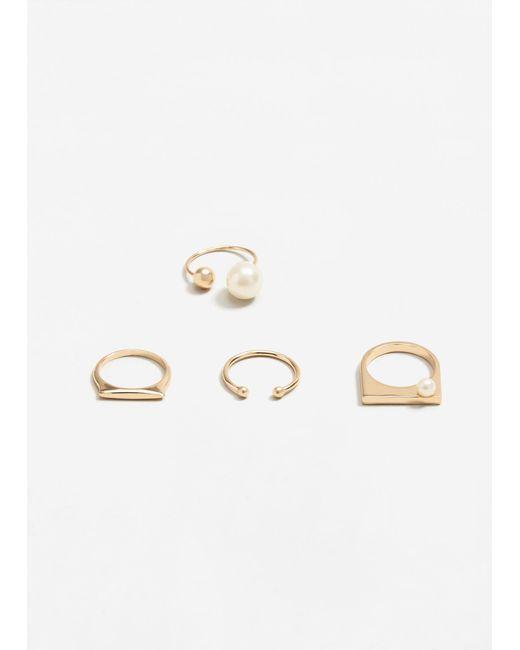 Mango | Metallic Pearly Bead Ring Set | Lyst