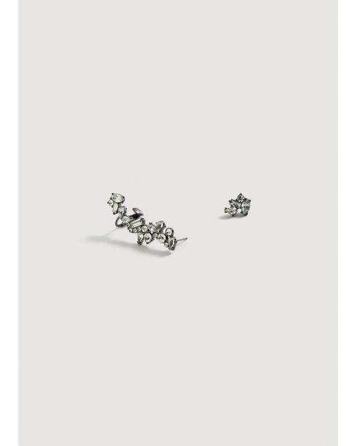Mango - Metallic Crystals Aysmmetric Earrings - Lyst