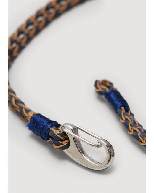 Mango | Blue Braided Leather Bracelet | Lyst