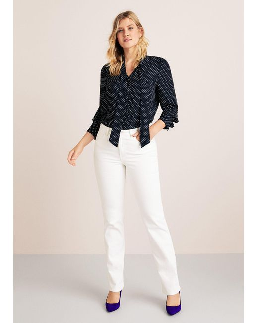 Violeta by Mango - White Straight-fit Theresa Jeans - Lyst