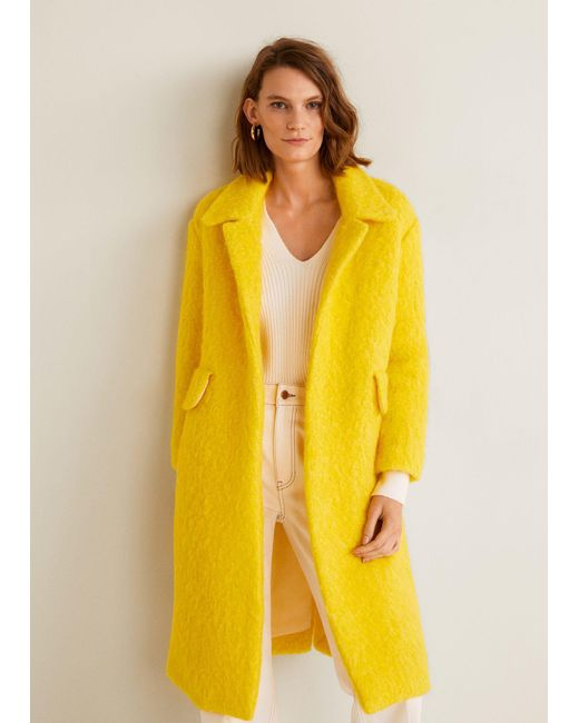 Mango - Yellow Unstructured Wool-blend Coat - Lyst